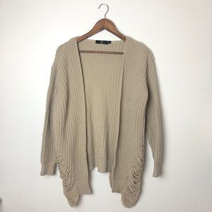 Missguided Tan Distressed Sweater Small